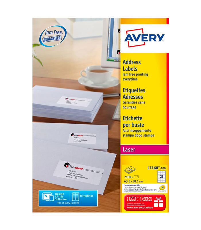 Etiquettes blanches laser QuickPeel 63,5 x 38,1 mm (2.100 pièces) – AVERY